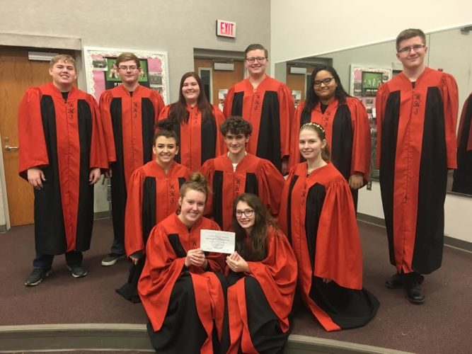 "The Ebony & Ivory show choir ensemble from Wellsville High School scored a ""Superior"" rating at Solo & Ensemble Contest on Jan. 14, held at GlenOak High School in Canton. The ensemble was scored on a scale of five and achieved the highest rating possible. Pictured are bottom (from left): Emily Skinner and Heather Shafer; second row: Peyton Davidson, Isaac Sluder, and Jessica Crabtree; back row: Ryan Miller, Kenny Durbin, Alexis Daniels, Austin Dalrymple, Destinee Spann, and John Jarvis. (Submitted photo)"