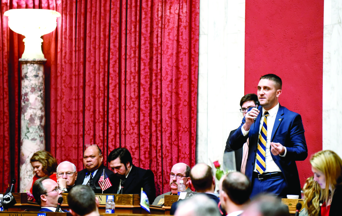 State Del. Pat McGeehan (R-Hancock County) delivers a speech on the House floor this week at the State Capital in Charleston. (Photo courtesy of Perry Bennett)