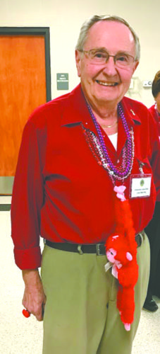 Lion Bob Hay won the Valentine's Day dress up contest during the recent Calcutta Lions Club meeting. (Submitted photo)