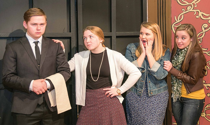"East Liverpool High School Thespians present ""Don't Be Afraid of the Dark"" — an evening of mystery and fun. Pictured are (from left) seniors Tyler Adkins, Kaileigh Christy, Katie Hamilton, and Andrea Dietz. Performances take place Friday-Saturday. Auditorium doors open at 6:30 p.m.. Play starts at 7. Admission is $6 for adults, $4 for students $4 and $2 for senior citizens. (Submitted photo)"
