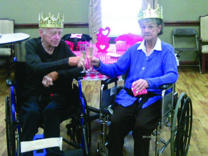 Calcutta Health Care Center staff and residents celebrated Valentine's Day with cookies, treats, and drinks. The king and queen were crowned while love tunes played in the background. The 2017 King is Donnie Bailey and the Queen is Eva Parsons. (Submitted photo)