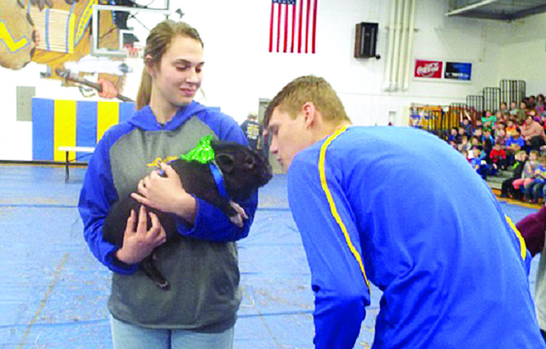 "Southern Local High School FFA raised more than $332 to benefit Akron Children's Hospital by conducting a ""Kiss-A-Critter"" contest and hat day during FFA Week. The Kiss-A-Critter campaign cost a penny a vote while students paid $1 to don toppers for a day or $3 for the week. Shown is FFA member Jacob Joiner puckering up to the little porcine, which is being held by FFA Secretary Emily McDonald. (Submitted photo)"