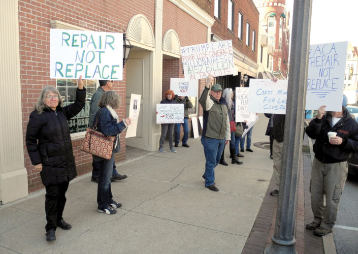 West Virginia residents express their concerns over Republican-led attempts to change the Affordable Care Act at a rally organized Thursday morning in Parkersburg. (Photo By Jess Mancini)