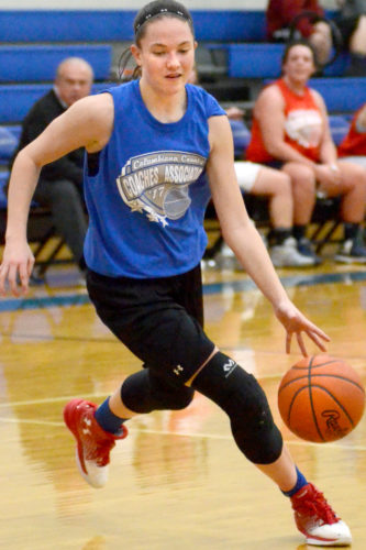 Beaver Local's Madison Roberts dribbles in the County Classic All-Star Game on Tuesday. (Photo by Patti Schaeffer)