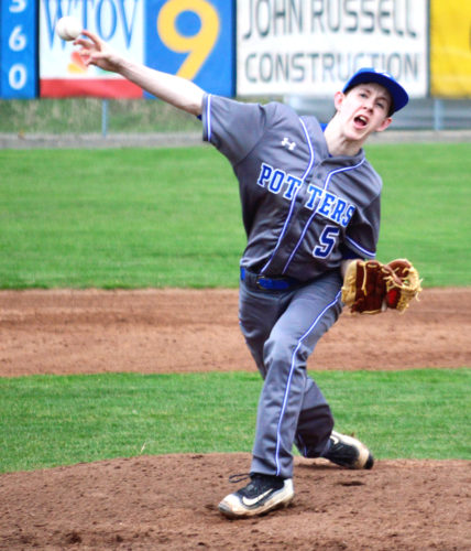 East Liverpool's Connor Bailey throws against Steubenville on Tuesday. (Photo by Mike Mathison)