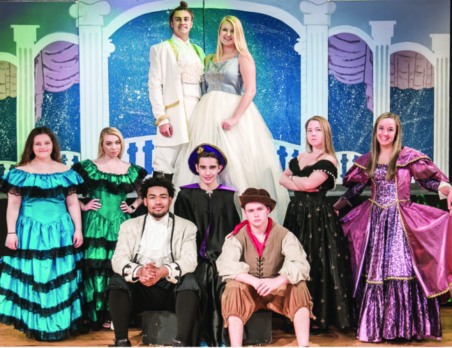 "East Liverpool High School students present Rodgers and Hammerstein's ""Cinderella"" at 7:30 p.m. April 27-29 in the Auditorium. Doors open at 7. Cost is $6 for adults, $4 for students and $2 for senior citizens. Pictured (front, from left) are Joaquin Johnson and Tyler Adkins; (center) Gracie LaScola, Sydney Pipo, Justin Blasdel, Kaileigh Christy, and Andrea Dietz; and (back) Dakota Ice and Katie Hamilton. (Submitted photo)"