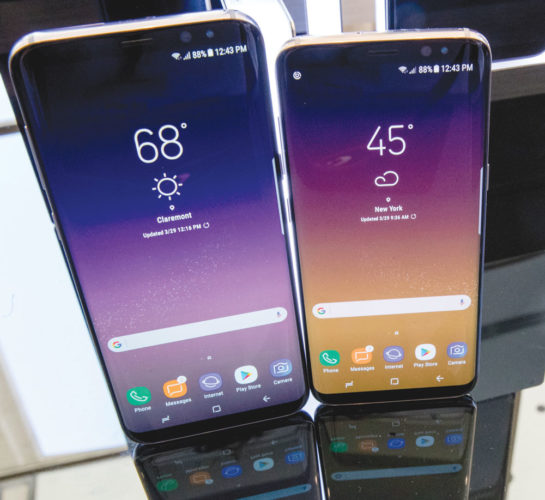 In this Wednesday, March 29, 2017, file photo, the Samsung Galaxy S8, right, and S8 Plus appear on display after a news conference, in New York. (AP Photo/Mary Altaffer, File)