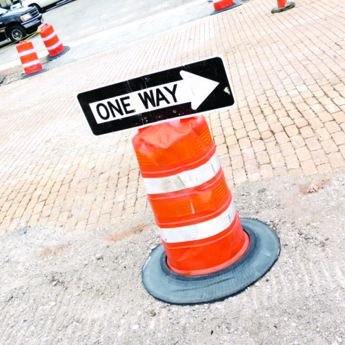 The traffic flow along East Fourth Street, from Washington to Broadway streets, in downtown East Liverpool, has been temporarily changed to one way (headed east, toward Broadway). Signs have been erected by work crews, although no information on the temporary change was released by city officials. (Review photo)