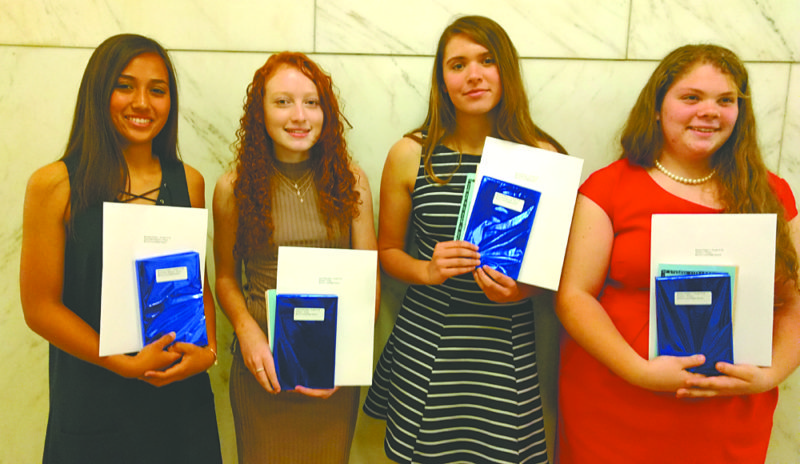 "Four Beaver Local High School students won accolades for essays and poems submitted to the 24th annual Holocaust Writing Contest open in Mahoning, Columbiana, and Shenango Valley. This year's topic was ""The Power of Words.""  Awards were presented at the JCRC's Commemoration Program on April 25, 2017, at the Mahoning County Courthouse.  The winners (from left) include Annie Parker, Alexia Harding, Hannah Myers, and Emma Palmer. (Submitted photo)"