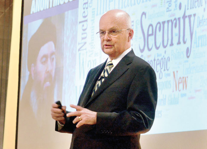 Retired Air Force Gen. Michael Hayden, former director of the National Security and Central Intelligence agencies, spoke Thursday evening at Steubenville Catholic Central High School. (Photo by Michael D. McElwain)