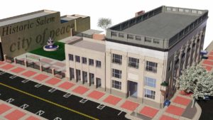 This conceptual drawing shared with members of Salem City Council's Economic Development Committee Wednesday night shows what the three vacant lots, former Butler Museum building and bank building along East State Street just east of South Broadway Avenue could look like if a proposed development for a possible science and technology-based children's museum becomes reality. Sustainable Opportunity Development Center Executive Director Michael Mancuso is working with a non-profit foundation on what's been dubbed Project Unlock Our Future. (Image provided by SOD Center)