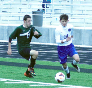 Blake Gill (14) of Lakeview beats West Branch defender Andy Stainer around the corner in sectional tournament action at Don Richards Memorial Stadium on Saturday afternoon. (Special to the News)