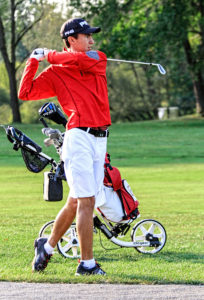 Columbiana junior Jared Wilson tees off at Salem Hills Golf and Country Club on his way to winning the Division III state title. Wilson made a verbal commitment Friday to attend Wake Forest University. (Photo by Wayne Maris)