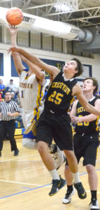 Southern Local's Dominic Pugliano (left, 1) goes up for a shot around Crestview's Joey Flasco (32) and Dalton Palmer (20) on Friday. (Salem News/Patti Schaeffer)