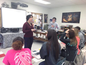 Coach Trisha Nord directs the Columbiana speech team in preparation for Speech Night on Sunday. (Submitted photo)