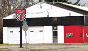 "The Salem Lube Stop expects to open at 517 Newgarden Ave. on March 5 and will offer oil and filter changes along with light maintenance for wipers, NAPA batteries, tire rotation, brakes, air and cabin filters and ""anything that needs attention,"" according to Teresa Hutmacher who co-owns the family-run business with her husband, Hank. The business is located right at the corner of Prospect Street, next to the Salem Gas Stop. (Salem News photo by Larry Shields)"