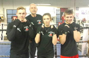 Jeff Felger (left), coach Ron Jackson, Cierra Coontz and Drew Smith prepare for the 89th annual Cleveland Area Golden Gloves Qualifying Tournament later this month at St. Peter Chanel High School in Bedford. Action starts Friday, March 31 and continues on Saturday, April 1 and Friday, April 7. (Submitted Photo)