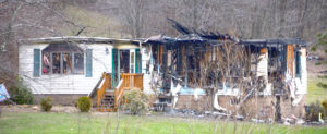 This home on Glasgow Road in Madison Township was destroyed by fire early Saturday. (Salem News photo by Patti Schaeffer)