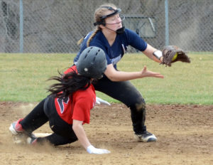 Leetonia's Kalie Eastek takes the throw at second for the out on Campbell's Deena  Diamanas on Saturday. (Salem News/Patti Schaeffer)