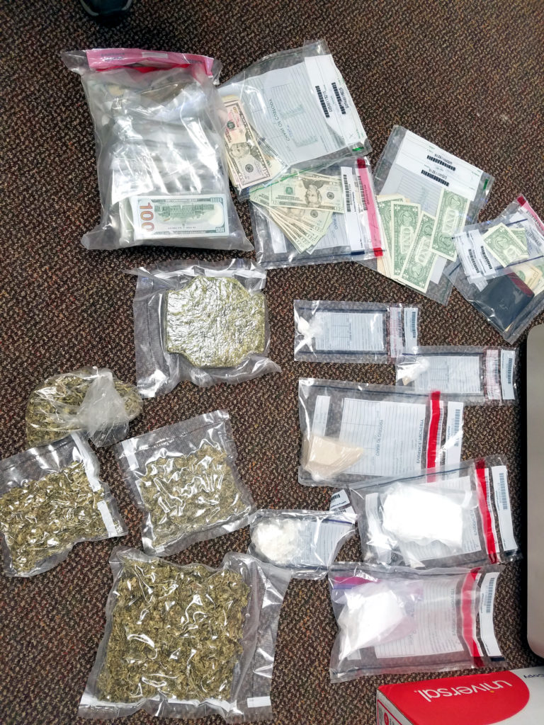 These drugs, marijuana and money were seized from a Lisbon residence Wednesday. (Special to the Salem News/County DTF)