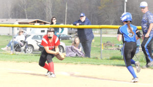Columbiana first baseman Morgan Highley forces out Lisbon's Chloe Smith on Wednesday. (Salem News/Chris Rambo)