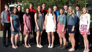The United Local 2017 Prom Court includes, front row, from left, Jenna Martin, Cassie Yarwood, Molly Briceland, Tori Hahlen, Hannah Mix, Camryn Jarrett and Sydney Marra; back row, from left, Dakota Hill, Cade Wood, Tyler Humphrey, Jordan Russell, Jared DelVichio, Mitchell Kelly and Kaden Smith. (Submitted photo)