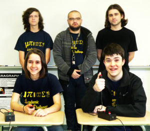 The United High School Academic Challenge team will compete in the National Academics Quiz Tournament this weekend in Chicago. Team members, from left, seated, Kylie Youst, Evan Gamble; back row, Scott King, Jacob Ingledue and Cade Berg. Not pictured is team member Olivia Rieck and coach Jacob Kilroy. (Salem News photo by Kevin Howell)