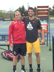 Salem High School graduate and Youngstown State senior Mitch Maroscher poses with three-time Horizon League player of the year Jeffery Schorsch of Valparaiso on Saturday following the pair's singles match at the Horizon League semifinals. (Submitted Photo)