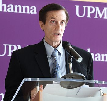 Dr. Donald Leathers speaks at the event to mark the affiliation of Susquehanna Health and UPMC.