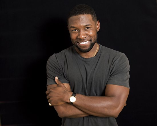 "ASSOCIATED PRESS In this Oct. 3 photo, actor Trevante Rhodes, a cast member in the film, ""Moonlight,"" poses at A24 offices in New York. Rhodes, 26, Alex Hibbert, 12, and Ashton Sanders, 20, play the same character at various ages in Barry Jenkins' film about a kid growing up black, gay and confused with his drug addicted mother in Miami."
