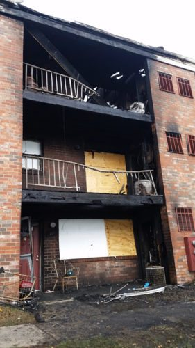 PHILIP A. HOLMES/Sun-Gazette More than two dozen tenants were displaced by Wednesday's three-alarm fire at this apartment house at the Grampian Hills Apartments in Loyalsock Township. Investigators said the blaze was caused by heat from a gas grill igniting vapors that were escaping from a propane tank attached to the grill.