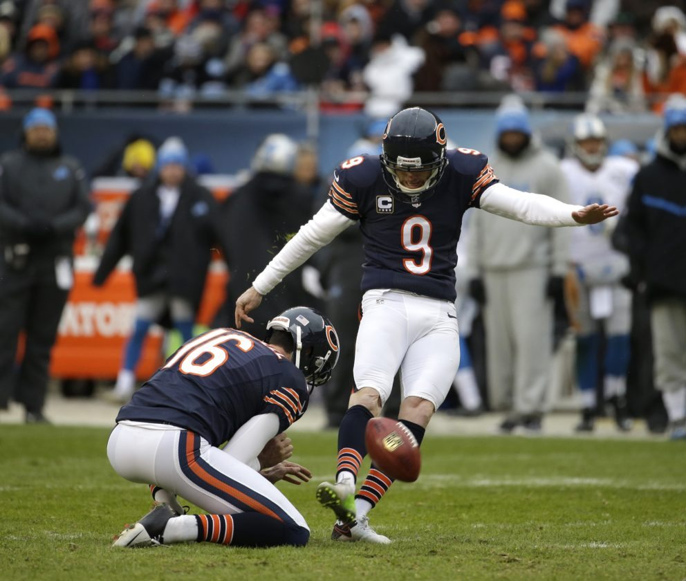 Former Chicago Bears kicker Robbie Gould is shown kicking during a game against the Detroit Lions. Gould was signed on Thursday by the New York Giants. He was released earlier this year by Chicago.