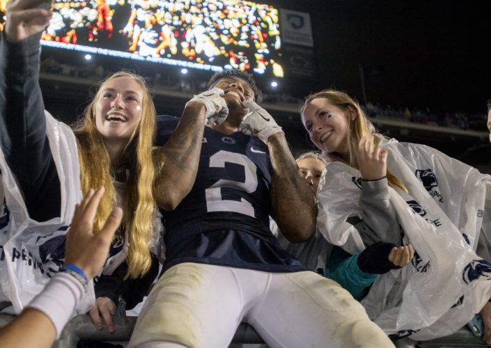 Penn State safety Marcus Allen (2) celebrates in the student section after an overtime win over Minnesota in an NCAA college football game Saturday, Oct. 1, 2016, in State College, Pa. (Abby Drey/Centre Daily Times via AP)