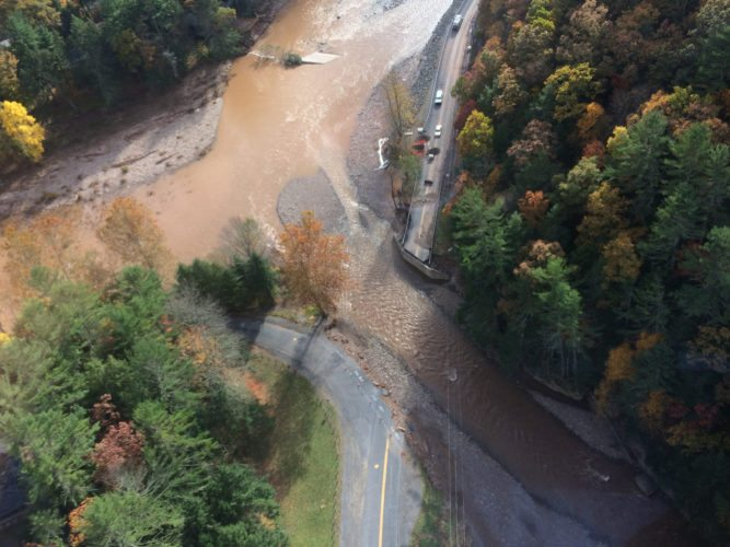 PHOTO PROVIDED This aerial shot provided by Sunoco shows the washed out bridge at Wallis Run.