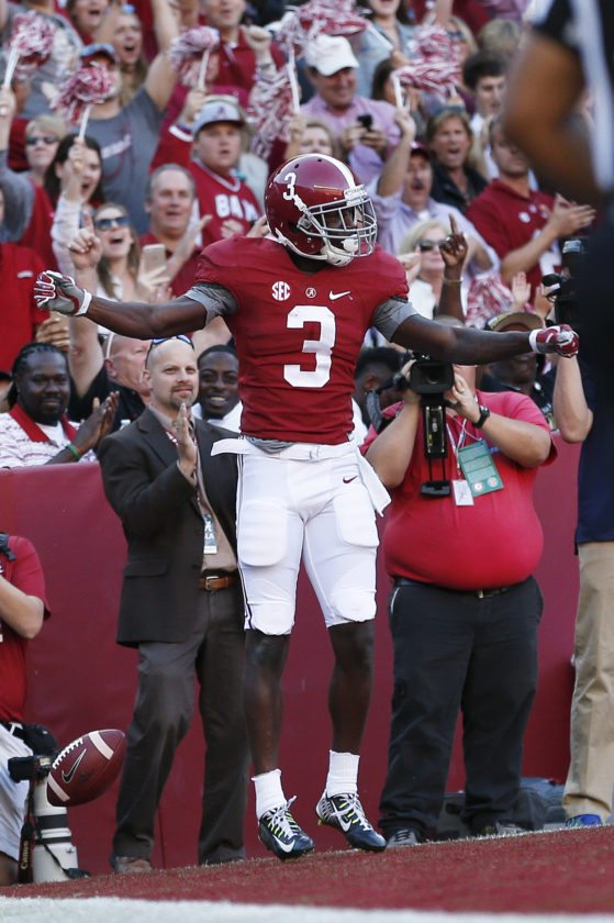 Alabama wide receiver Calvin Ridley celebrates after scoring a touchdown during the second half  against Texas A&M on Saturday in Tuscaloosa, Ala.