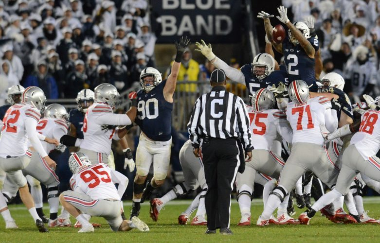 Marcus Allen blocks Tyler Durbin's go-ahead field goal attempt Saturday night at Beaver Stadium before Grant Haley returned it 60 yards for a go-ahead score. The win was Penn State's first over a top-2 team since defeating #1 Notre Dame in 1990 and was the program's first win as an unranked team over a top-2 opponent since defeating the second-ranked Buckeyes in 1964.