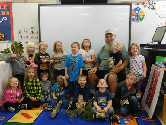 PHOTO PROVIDED Buck Winters brought his love of nature and trees to the children of the Wyalusing Head Start classroom recently.