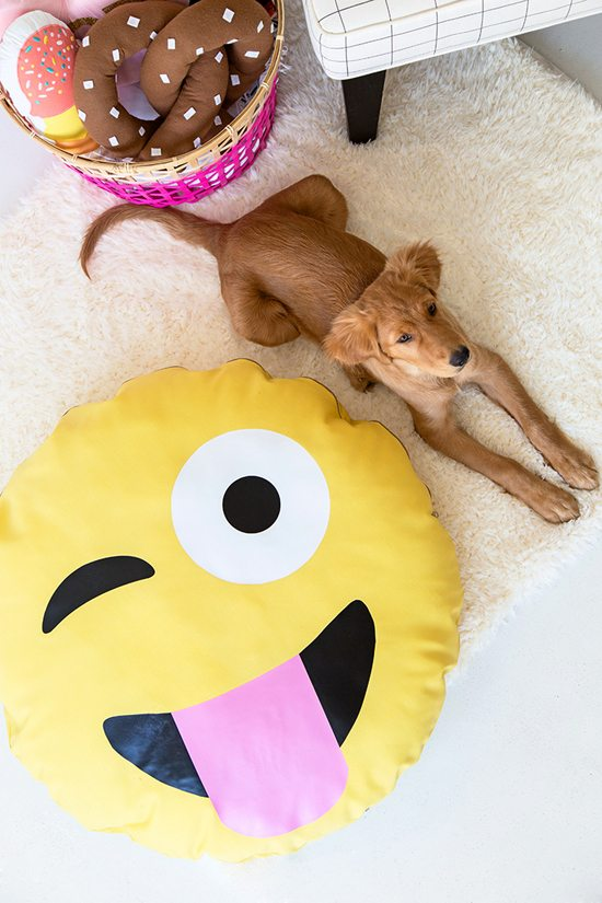 This undated photo provided by StudioDIY.com shows a dog next to a DIY pet bed project created by crafter Kelly Mindell of StudioDIY.com. Mindell transformed a large, plain yellow pillow into the emoji face with the help of iron-on fabric pieces cut into the shapes to makeup the emoji expression. (Jeff Mindell/StudioDIY.com via AP)
