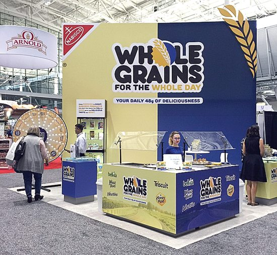 This Oct. 16, 2016, photo shows NabiscoÕs booth at an annual dietitians' conference, where company representatives explained the health benefits of their products. The presence of major food companies underscored the conflict-of-interest issues in the nutrition field. (AP Photo/Candice Choi)