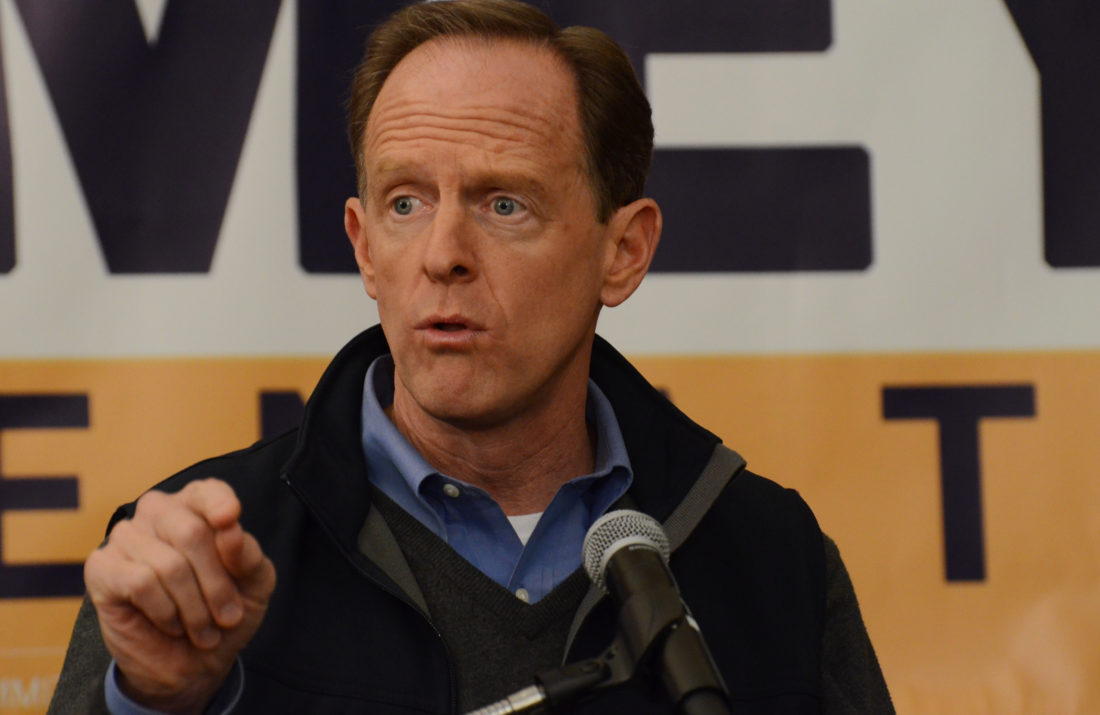 ASSOCIATED PRESS Pennsylvania's Republican U.S. Sen. Pat Toomey speaks to a small crowd of GOP loyalists in a Harrisburg-area hotel on the final day of campaigning before Pennsylvanians decide between him and Democrat Katie McGinty on Monday in New Cumberland. The contest is the most expensive U.S. Senate race ever, and the outcome of the election could tip control of the chamber next year.