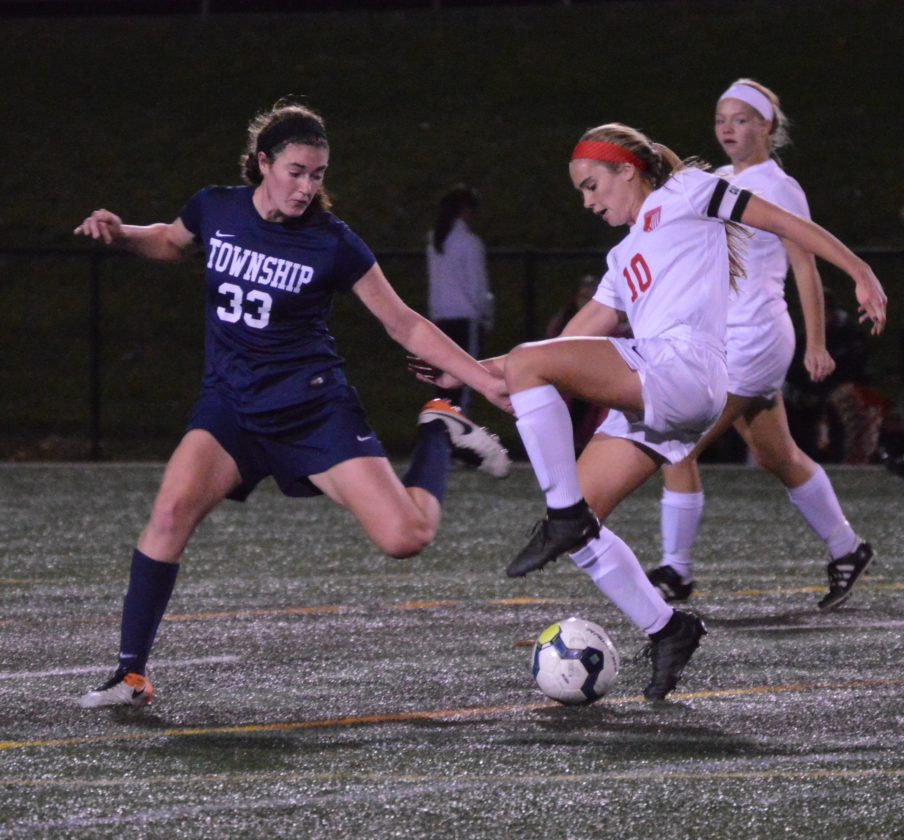Madison Bowman of Williamsport dribbles as Man­heim Twp.'s Cashlin Copley Tuesday at Loyalsock.