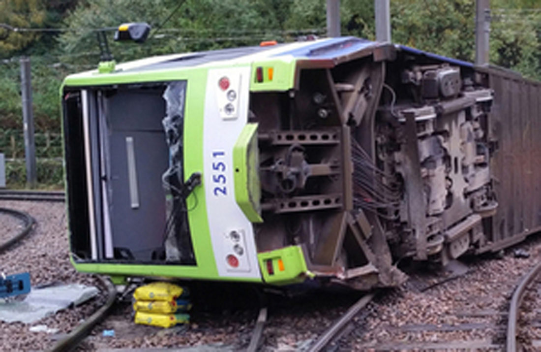 ASSOCIATED PRESS A photo issued by the Rail Accident Investigation Branch of the tram which derailed near the Sandilands stop in Croydon, London, on Wednesday.