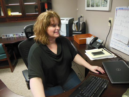 MIKEREUTHER/Sun-Gazette Stefanie Bennett works in her office on Route 405 between Hughesville and Muncy.