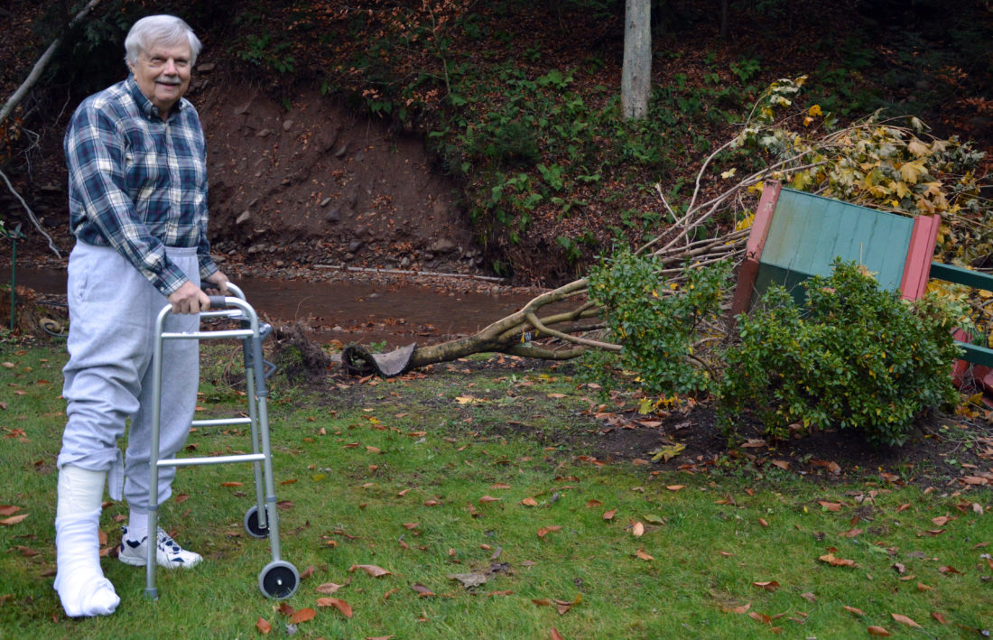 KATELYN HIBBARD/Sun-Gazette Tom Karmazin, of Trout Run, stands in his backyard that was damaged by the October flood. Karmazin was swept away in Slack Run's rapids, suffering numerous injuries. The flood waters caused mud and rock slides on the far bank of the stream, bringing down trees, and toppled the wishing well Karmazin had built years ago. The white pole shown at left is where the well originally stood.