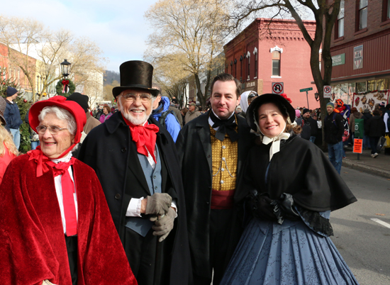 "JOHN EATON/Sun-Gazette Correspondent Barbara and Larry Biddison, of Wellsboro, left, are dressed in costumes they created to wear at Dickens. The couple host the annual Dickens of a Christmas costume workshop to teach people how to put together a Victorian-appearing costume by using items on hand or that can be procured easily and inexpensively.   ""It's great fun to walk up and down Main Street, offer cheery greetings to strangers and see their smiles. It's also fun when folks stop to inquire about my costume,"" Larry said. ""And it's even more rewarding when someone asks if I wouldn't mind posing for a  picture!"""