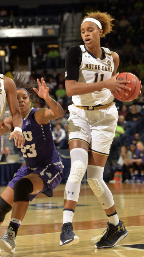 Notre Dame forward Brianna Turner looks to a pass around TCU guard AJ Alix during the second half of an NCAA college basketball game Saturday Nov. 26, 2016, in South Bend, Ind. (AP Photo/Joe Raymond)
