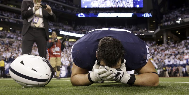 Penn State freshman offensive lineman Steven Gonzalez celebrates after Penn State's win Saturday over Wisconsin.