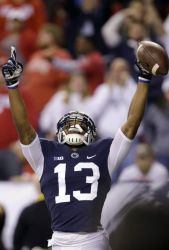 Penn State's Saeed Blacknall celebrates a first-half touchdown in the Big Ten championship game Saturday vs. Wisconsin in Indianapolis.