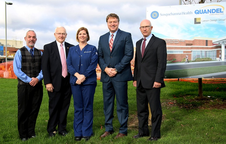 PHOTO PROVIDED From left to right, state Rep. Garth Everett, R-Muncy; state Sen. Gene Yaw, R-Loyalsock Township; Janai Arbogast, supervisor of Inpatient Care/ED; Ron Reynolds, chief administrative officer of Muncy Valley Hospital; and Steve Johnson, president of UPMC Susquehanna stand near the construction site of the expanded emergency department at Muncy Valley Hospital.