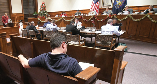 MARK NANCE/Sun-Gazette Other than one reporter and the principals involved, Williamsport City Council chambers is empty as round one of 2017 budget meeting begins Monday night.